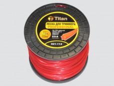 Леска для триммеров ЗВЕЗДА (бобина) 4.00мм*112м, красный, Titan