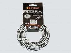 Леска для триммеров ZEBRA (картон) 2.40мм*15м, белый+черный. ВИТАЯ, ОСОБО ПРОЧНАЯ
