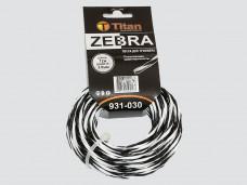 Леска для триммеров ZEBRA (картон) 3.00мм*12м, белый+черный ВИТАЯ, ОСОБО ПРОЧНАЯ