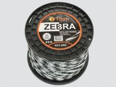 Леска для триммеров ZEBRA (бобина) 4.00мм*95м, белый+черный. ВИТАЯ, ОСОБО ПРОЧНАЯ