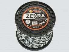 Леска для триммеров ZEBRA (бобина) 2.70мм*216м, белый+черный., ВИТАЯ, ОСОБО ПРОЧНАЯ