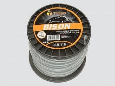 Квадрат BISON (бобина) 2,40мм*116м,серый, шнур нейлоновый со стальным тросом Titan