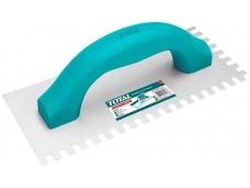 Гладилка нержавеющая100х230 мм зуб 10х6 мм с обрезиненнойручкой TOTAL